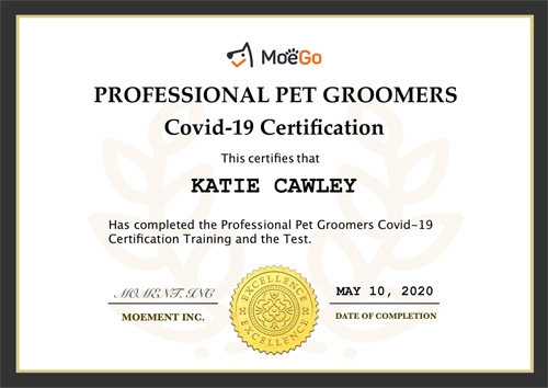 Covid-19 grooming safety certificate